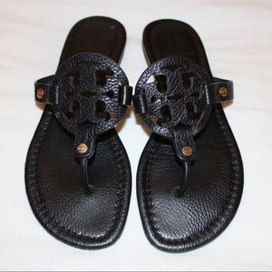Tory Burch Miller Sandal in Black Leather Size 7